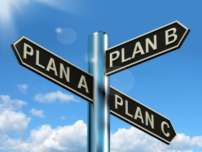 Plan A B or C Choice Showing Strategy Change Or Dilemmas